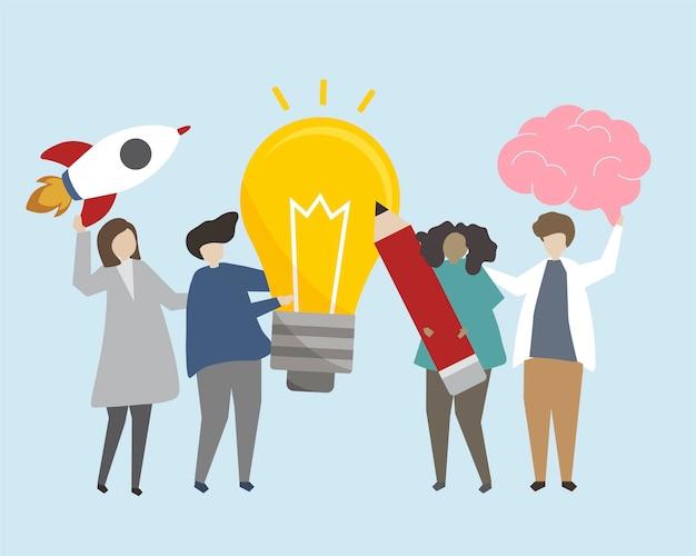 Personnes avec illustration d'idées lumineuses Vecteur gratuit