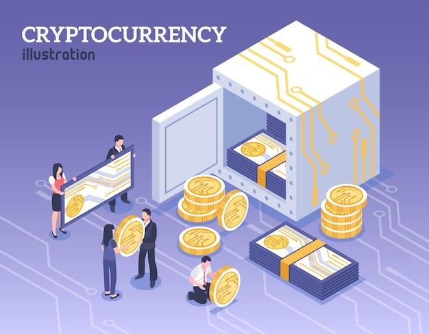 Personnes Avec Illustration Isométrique De Crypto-monnaie Bitcoins Vecteur gratuit