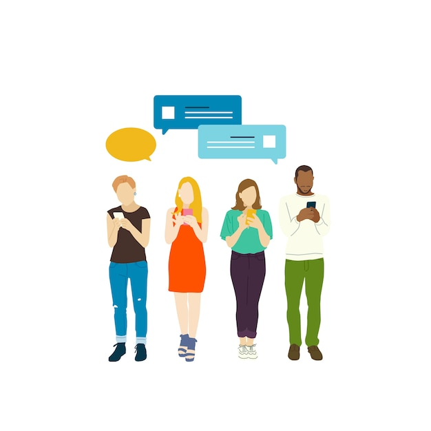 Personnes illustrées avec réseau social Vecteur gratuit