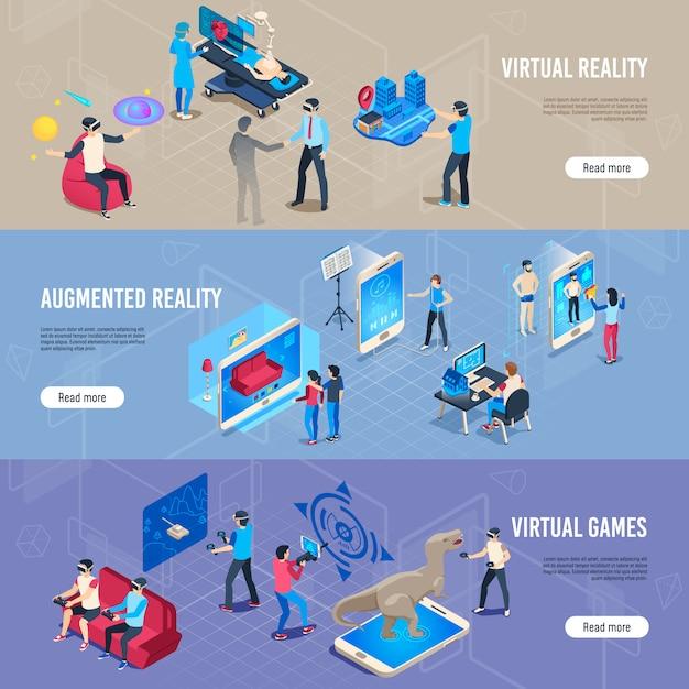 Personnes Isométriques Dans Vr, Collection De Bannières De Casque De Simulation De Réalité Virtuelle Portable Vecteur Premium
