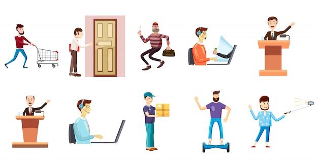 Personnes avec jeu de caractères d'objet. jeu de dessin animé de personnes avec des objets Vecteur Premium