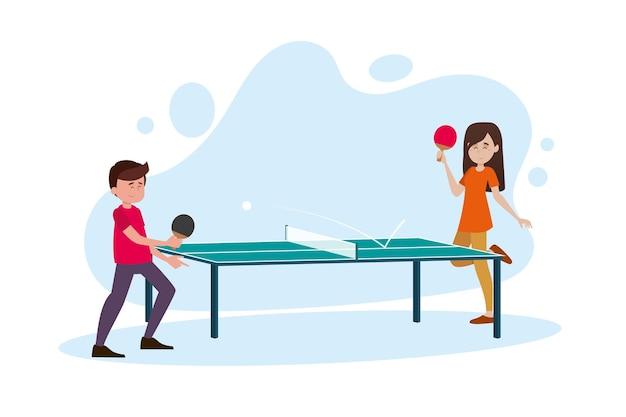 Personnes Jouant Au Tennis De Table Illustration Vecteur gratuit