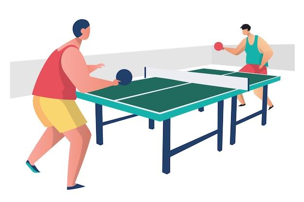 Personnes Jouant Au Tennis De Table Vecteur gratuit