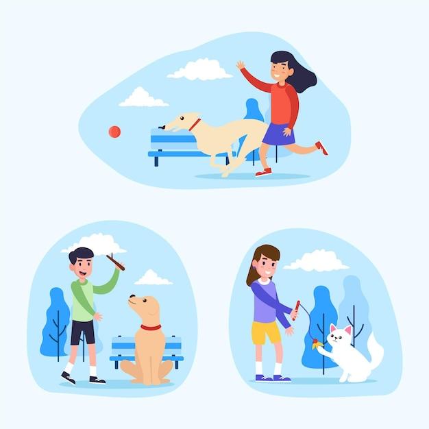 Personnes Jouant Avec Leurs Illustrations D'animaux De Compagnie Vecteur gratuit