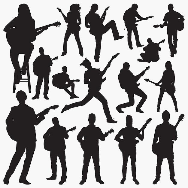 Personnes jouant des silhouettes de guitare Vecteur Premium