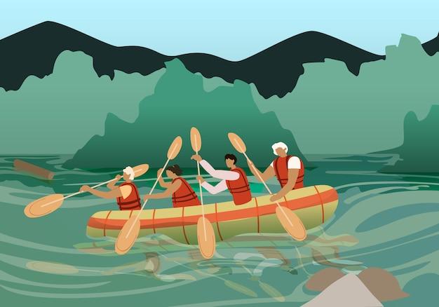 Personnes en kayak près de la côte rocheuse sur une journée ensoleillée. Vecteur Premium