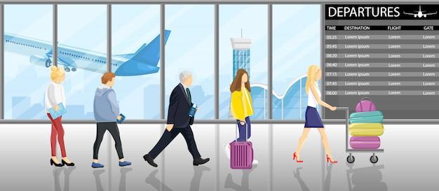 Personnes en ligne aux portes de l'aéroport Vecteur Premium