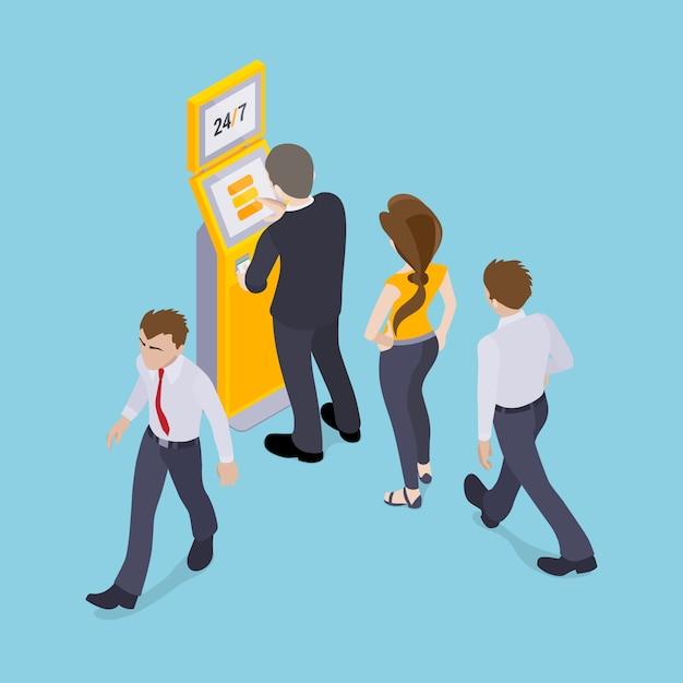 Personnes en ligne devant le terminal de paiement Vecteur Premium