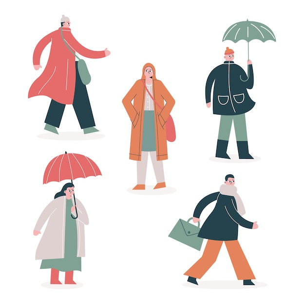 Personnes marchant en automne collectio Vecteur gratuit