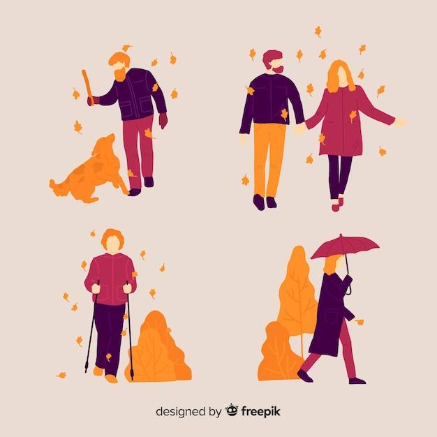 Personnes marchant en automne Vecteur gratuit
