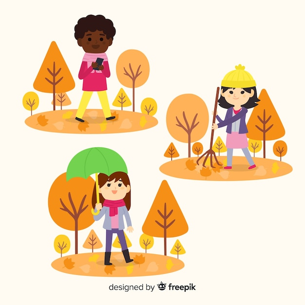 Personnes marchant dans un parc en automne Vecteur gratuit