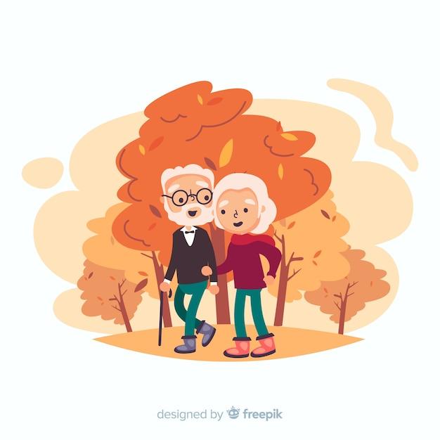 Personnes marchant ensemble en automne Vecteur gratuit
