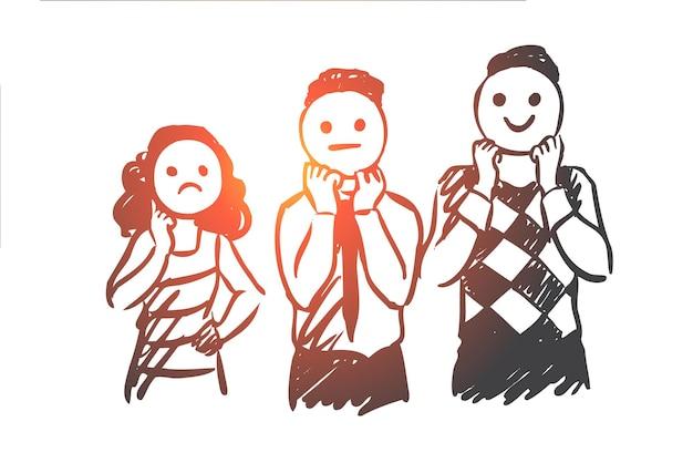 Personnes, Masque, Expression, Maussade, Concept De Visage. Les Personnes Dessinées à La Main Portent Un Masque Avec Un Croquis De Concept D'émotions. Vecteur Premium