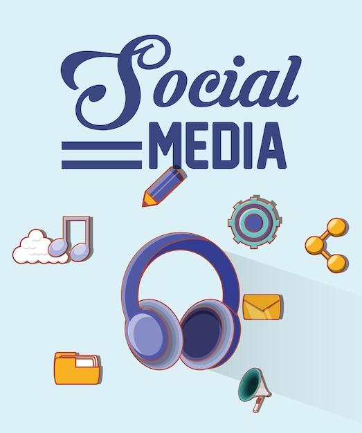 Personnes médias sociaux Vecteur Premium