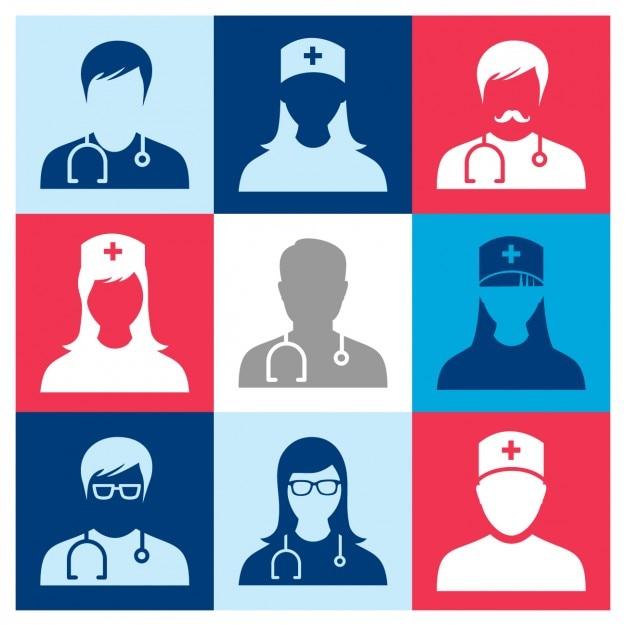 Personnes Medical Icons Vecteur gratuit