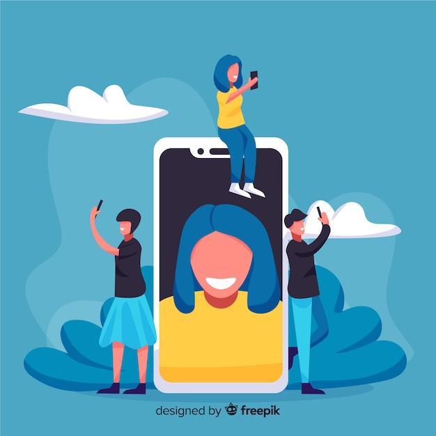 Personnes Partageant Des Selfies Sur Les Médias Sociaux Vecteur gratuit