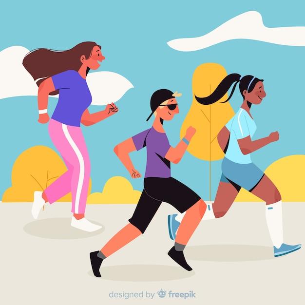 Personnes participant à une course de marathon Vecteur gratuit