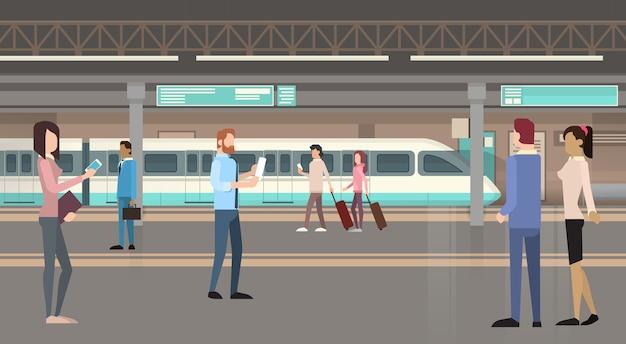 Personnes passagers métro tram city moderne transports publics Vecteur Premium