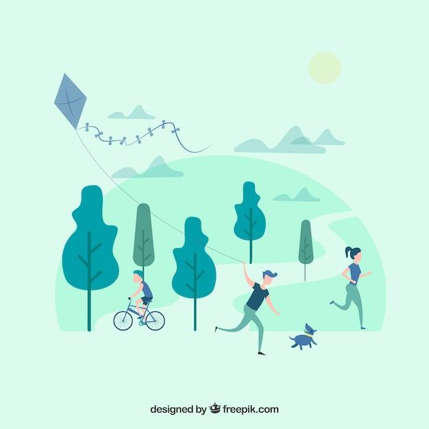 Personnes à plat faisant des activités de plein air de loisirs Vecteur gratuit