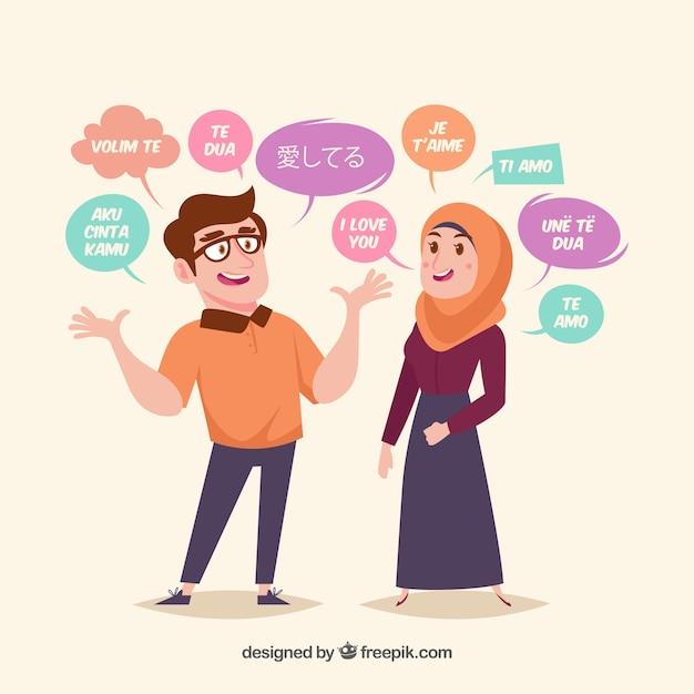 Personnes Plates Avec Des Mots Dans Différentes Langues Vecteur gratuit