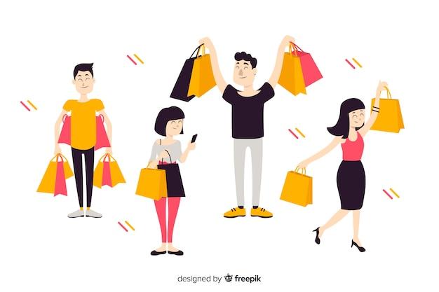 Personnes plates portant des sacs Vecteur gratuit