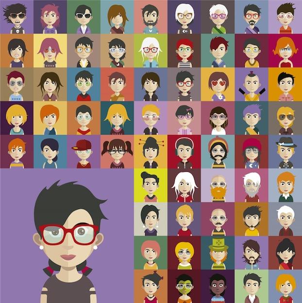 Personnes portant une collection d'avatar d'accessoires Vecteur gratuit