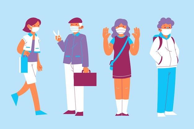 Personnes Portant Une Collection De Masques Médicaux Vecteur gratuit