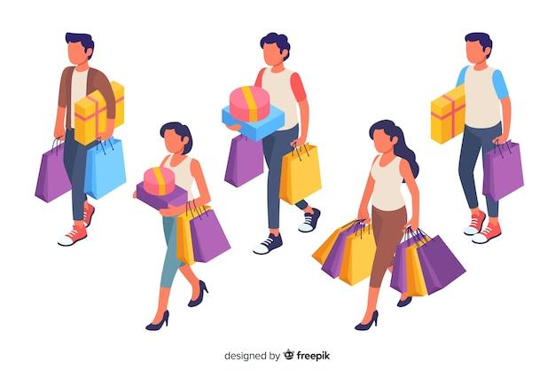 Personnes portant une collection de sacs Vecteur gratuit