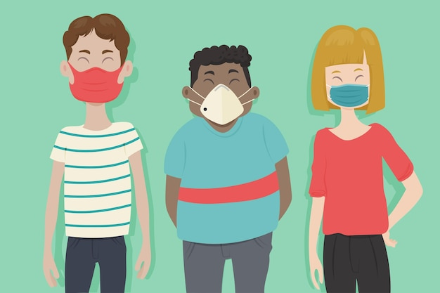 Personnes Portant Différents Types De Masques Vecteur gratuit