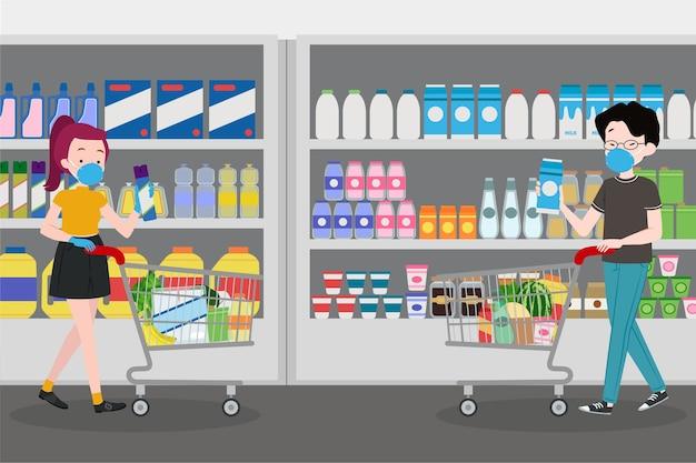 Personnes Portant Un Masque Au Supermarché Vecteur gratuit