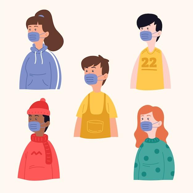 Personnes Portant Un Masque Médical Vecteur gratuit