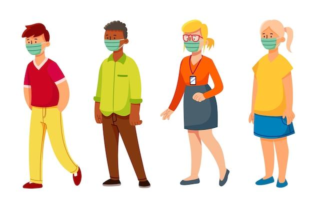 Personnes Portant Un Masque Vecteur gratuit