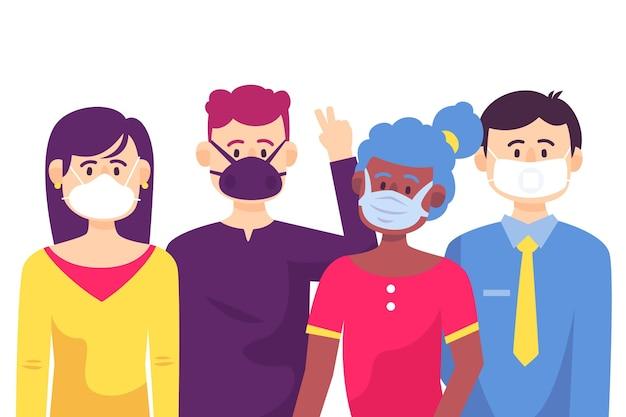 Les Personnes Portant Des Masques Différents Vecteur gratuit
