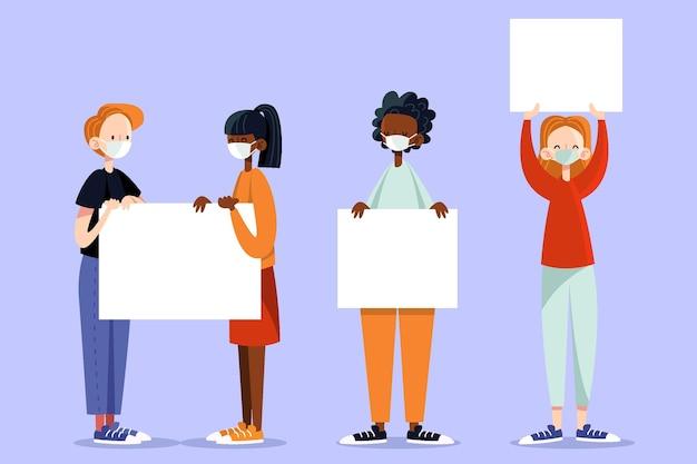 Personnes Portant Des Masques Médicaux Avec Des Pancartes Vecteur gratuit