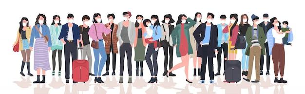 Personnes Portant Des Masques Pour Prévenir L'épidémie Mers-cov Wuhan Coronavirus 2019-ncov Pandémie Risque Médical Pour La Santé Hommes Femmes Foule Debout Ensemble Pleine Longueur Horizontale Vecteur Premium