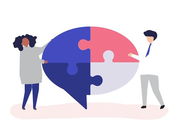 Personnes portant des morceaux de puzzle d'une bulle de dialogue Vecteur gratuit