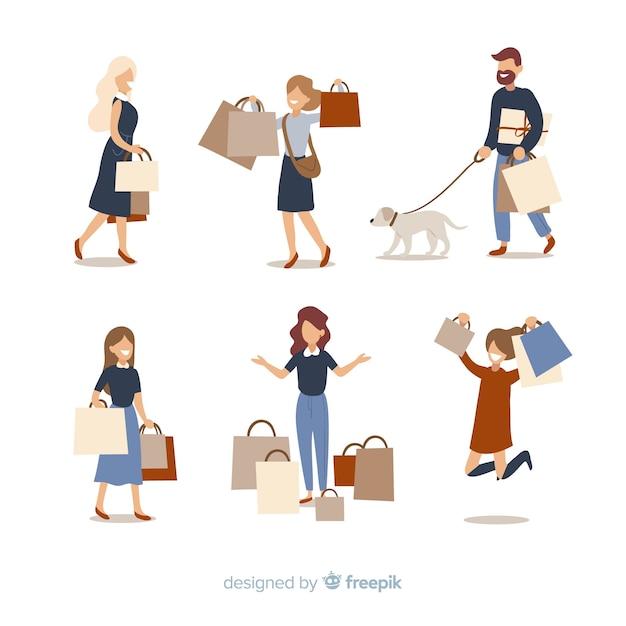 Personnes portant des sacs à provisions Vecteur gratuit