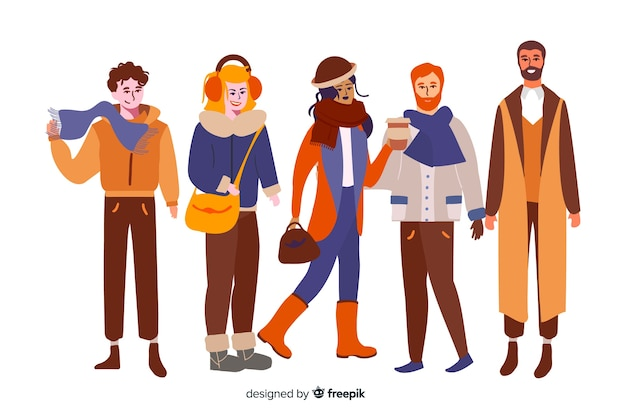 Personnes portant des vêtements d'automne Vecteur gratuit