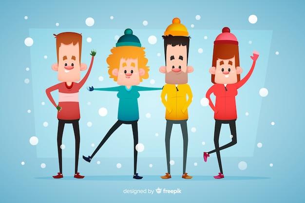 Personnes Portant Des Vêtements D'hiver Et Restant Dans La Neige Vecteur gratuit