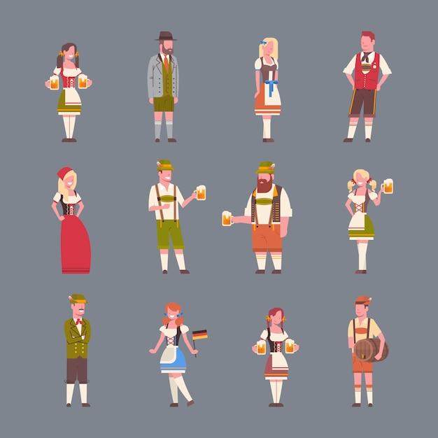 Personnes Portant Des Vêtements Traditionnels Allemands Ensemble D'homme Et Femme Tenant Des Bières à Bière Concept De Fête Oktoberfest Vecteur Premium