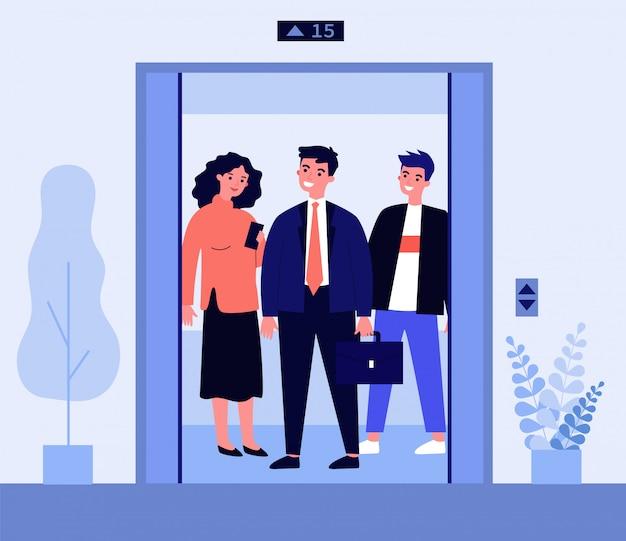 Personnes Positives Debout Sur La Cabine D'ascenseur Vecteur Premium