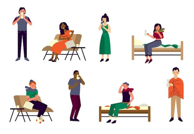 Les Personnes Présentant Divers Symptômes Du Rhume Et De La Grippe. Personnages Souffrant De Maux De Tête, De Maux De Gorge, D'écoulement Nasal Et De Toux. Les Gens Malades à La Maison. Vecteur Premium