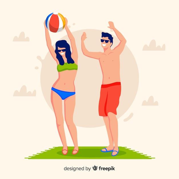 Personnes profitant de l'été à la plage Vecteur gratuit