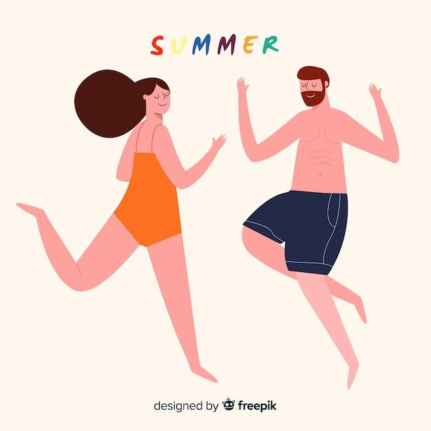 Personnes profitant de l'été Vecteur gratuit