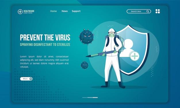 Personnes Avec Des Pulvérisateurs Désinfectants Pour Stériliser Le Virus Sur La Page De Destination Vecteur Premium