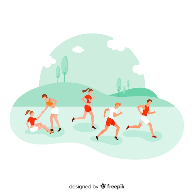 Personnes qui courent une course de marathon Vecteur gratuit