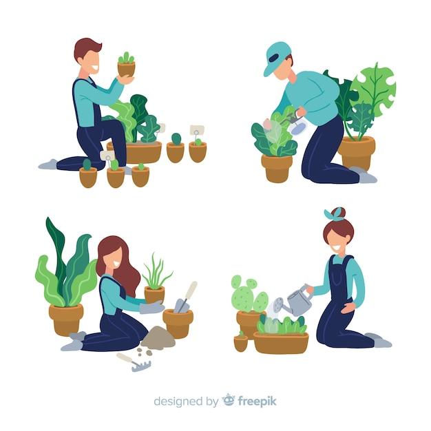 Personnes qui s'occupent des plantes Vecteur gratuit
