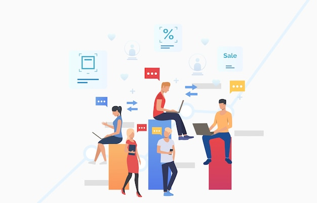 Personnes Qui Utilisent Des Gadgets, Envoient Des Messages Et Communiquent Vecteur gratuit