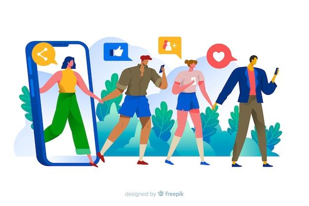 Personnes à la recherche de téléphone avec illustration de concept de médias sociaux icônes Vecteur gratuit