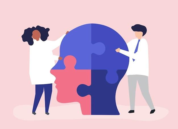 Personnes reliant des morceaux de puzzle d'une tête ensemble Vecteur gratuit